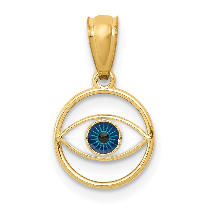 Quality Gold 14k Polished Enameled Eye Pendant