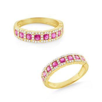 Pink Sapphire & Diamond Ring Set in 14 Kt. Gold