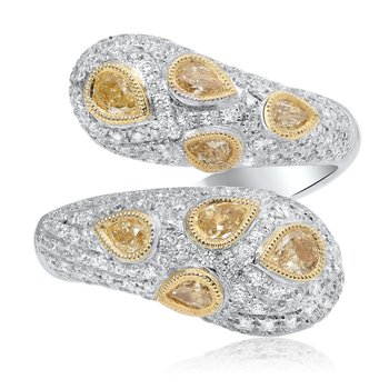 Two-Tone Pear Shaped Diamond Ring