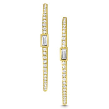 Diamond Mosaic Hoop Earrings Set in 14 Kt. Gold