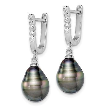 Sterling Silver Rhodium-plated 9-10mm Tahitian Pearl CZ Dangle Earrings