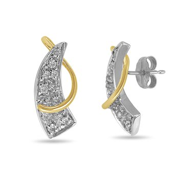 14K TTG Diamond Fashion Ear-rings