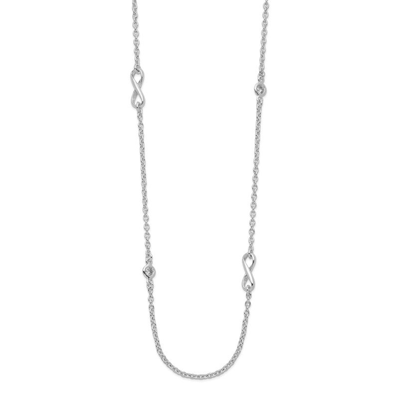 Quality Gold Sterling Silver CZ & Infinity Symbol Necklace