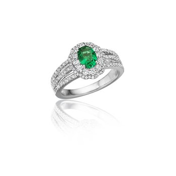 With Love Emerald and Diamond Triple Row Split Shank Ring