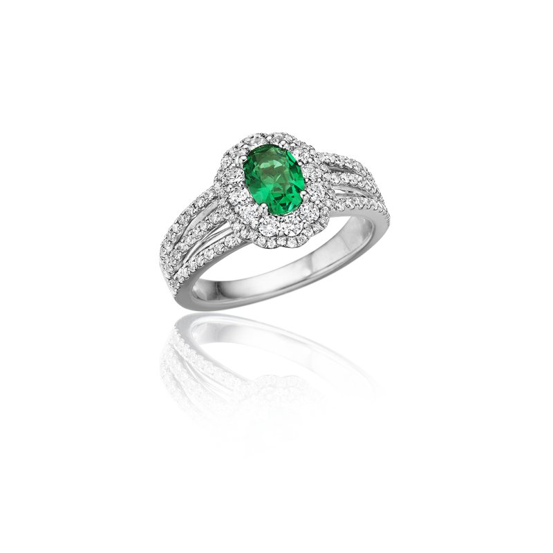 Fana With Love Emerald and Diamond Triple Row Split Shank Ring