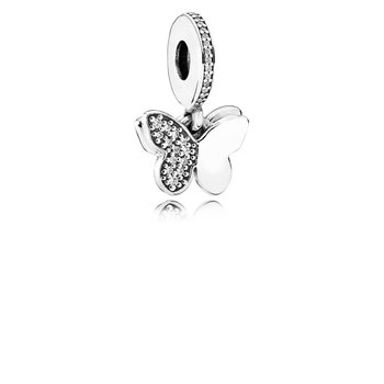Fluttering Butterflies Dangle Charm, Clear CZ