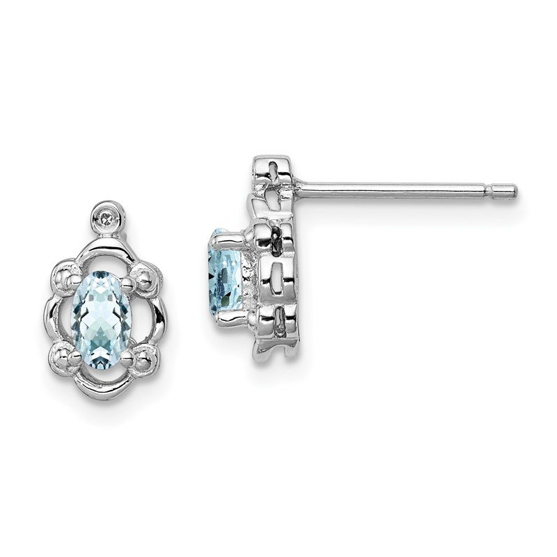 Quality Gold Sterling Silver Rhodium-plated Aquamarine & Diam. Earrings