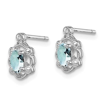 Sterling Silver Rhodium-plated Aquamarine & Diam. Earrings