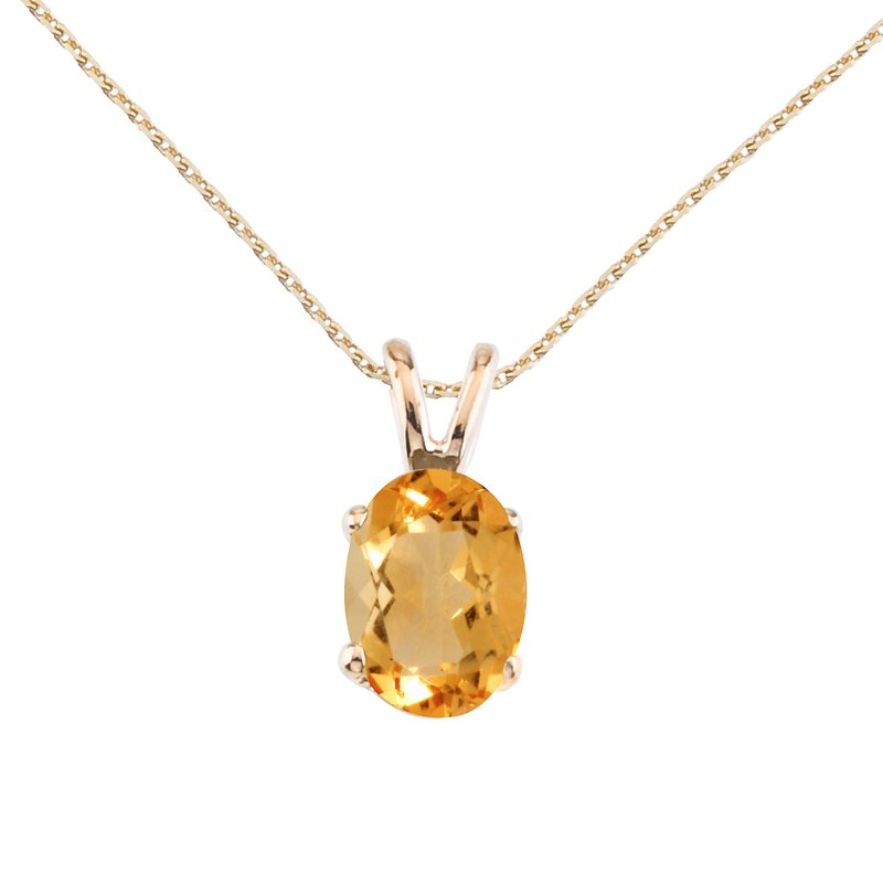Color Merchants 14k Yellow Gold Oval Large 6x8 mm Citrine Pendant