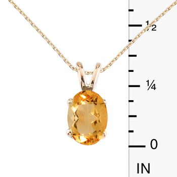 14k Yellow Gold Oval Large 6x8 mm Citrine Pendant