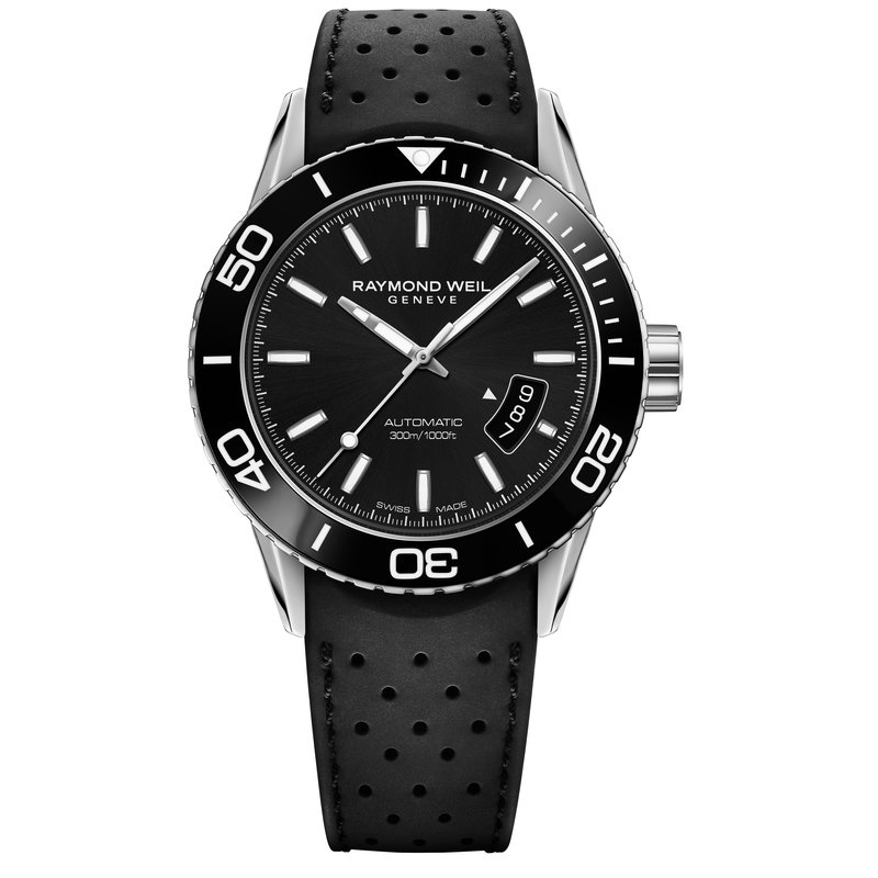 Raymond Weil Men's Automatic Diver Watch, 42mm Steel on rubber strap, black dial