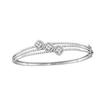 14kt White Gold Womens Round Diamond Triple Cluster Bangle Bracelet 1-1/4 Cttw