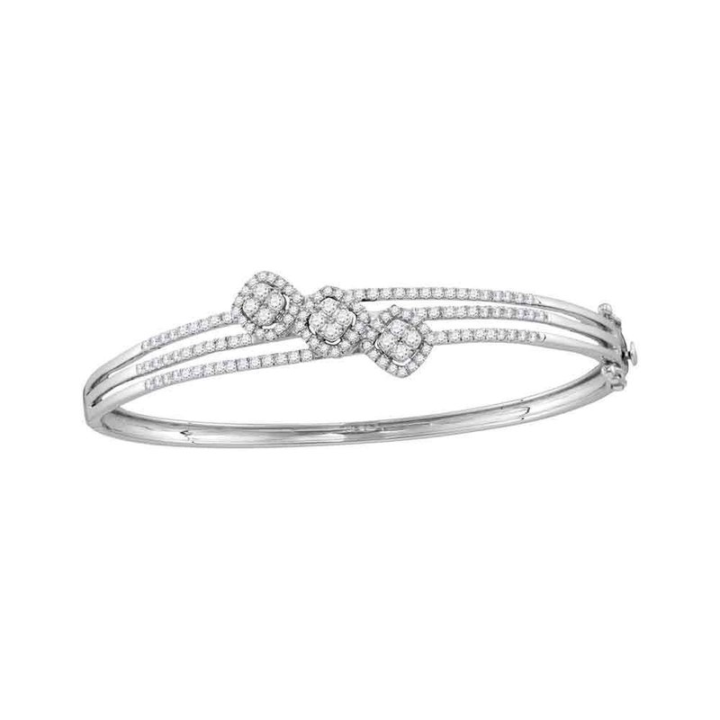 Gold-N-Diamonds, Inc. (Atlanta) 14kt White Gold Womens Round Diamond Triple Cluster Bangle Bracelet 1-1/4 Cttw