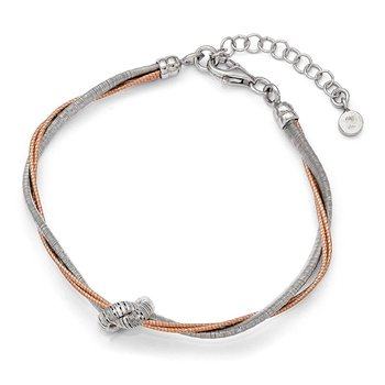 Leslie's Sterling Silver Rose Gold-plated 7.5in/1in Ext Bracelet