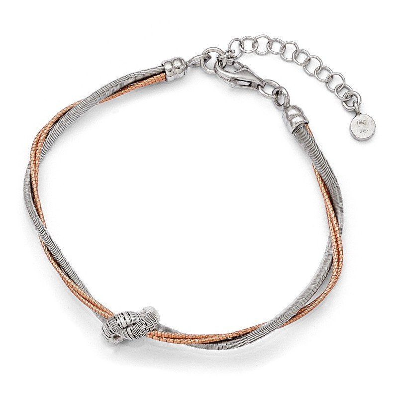Leslie's Leslie's Sterling Silver Rose Gold-plated 7.5in/1in Ext Bracelet