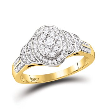 10kt Yellow Gold Womens Round Diamond Solitaire Oval Cluster Ring 1/2 Cttw