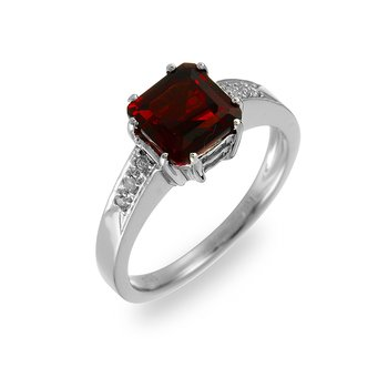 14K WG Diamond & Garnet Ring