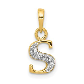 14KY with Rhodium Diamond Letter S Initial Pendant