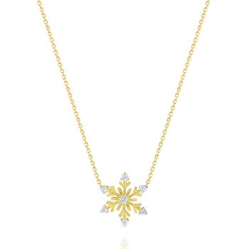 14K Diamond Snowflake Necklace