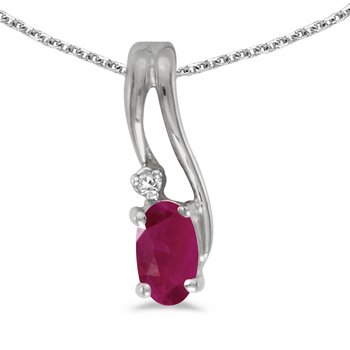 10k White Gold Oval Ruby And Diamond Wave Pendant