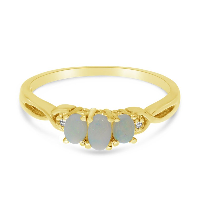 Color Merchants 10k Yellow Gold Oval Opal And Diamond Three Stone Ring