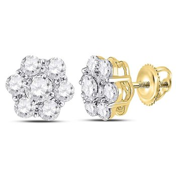 14kt Yellow Gold Womens Round Diamond Cluster Stud Earrings 1-3/8 Cttw