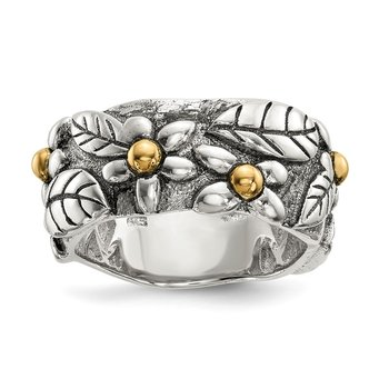 Sterling Silver w/14k Antiqued Leaves & Flowers Band