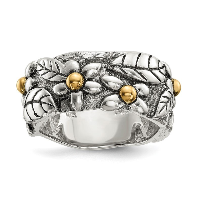 Quality Gold Sterling Silver w/14k Antiqued Leaves & Flowers Band