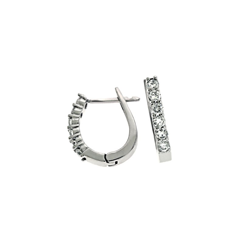 S. Kashi  & Sons Hinged Hoop White Gold Earring