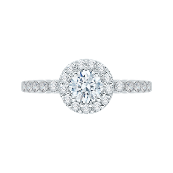 Round Cut Diamond Halo Engagement Ring with 14K White Gold