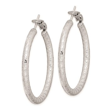 Sterling Silver Rhod-plated 3.25x40mm Omega Back Hoop Earrings