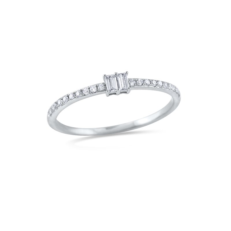 KC Designs 14K Baguette and Round Diamond Ring