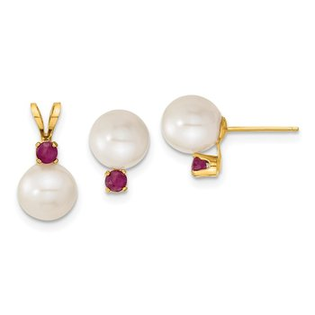 14k 7-8mm White FW Cultured Pearl & Ruby Stud Earrings & Pendant