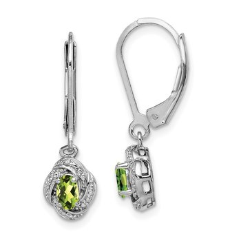 Sterling Silver Rhodium-plated Diam. & Peridot Earrings