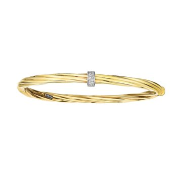 14K Gold Italian Cable Diamond Rondel Hinged Bangle