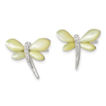 Sterling Silver CZ/Yellow Mother of Pearl Dragonfly Earrings