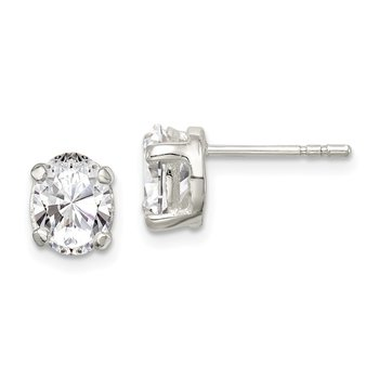 Sterling Silver 6x8mm Oval Basket Set CZ Stud Earrings