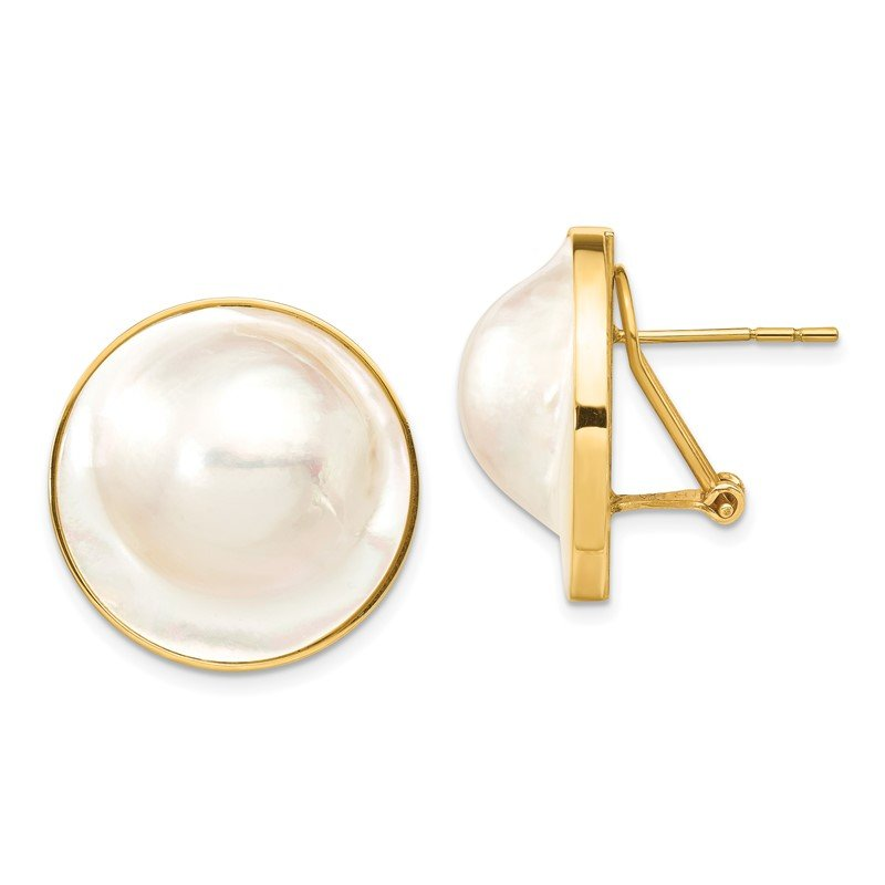 Quality Gold 14K 20-21mm White Saltwater Cultured Mabe Pearl Omega Back Earrings