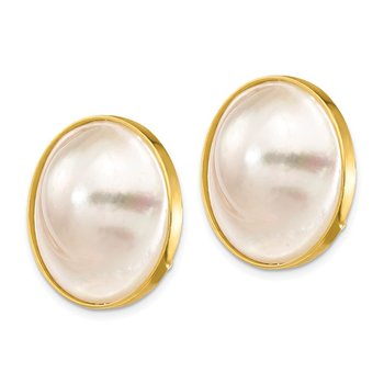 14K 20-21mm White Saltwater Cultured Mabe Pearl Omega Back Earrings