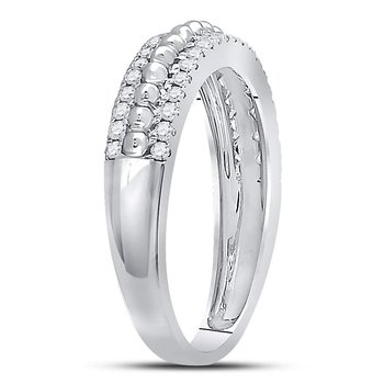 14kt White Gold Womens Round Diamond Beaded Symmetrical Band Ring 1/3 Cttw