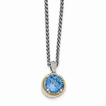 Sterling Silver w/14ky Blue Topaz Necklace