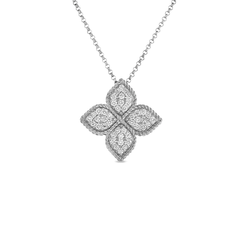 Roberto Coin Large Pendant With Diamonds &Ndash; 18K White Gold