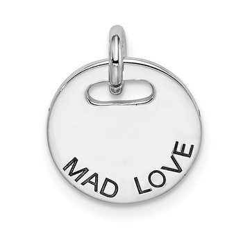 Sterling Silver Rhodium-plated Polished Mad Love Pendant