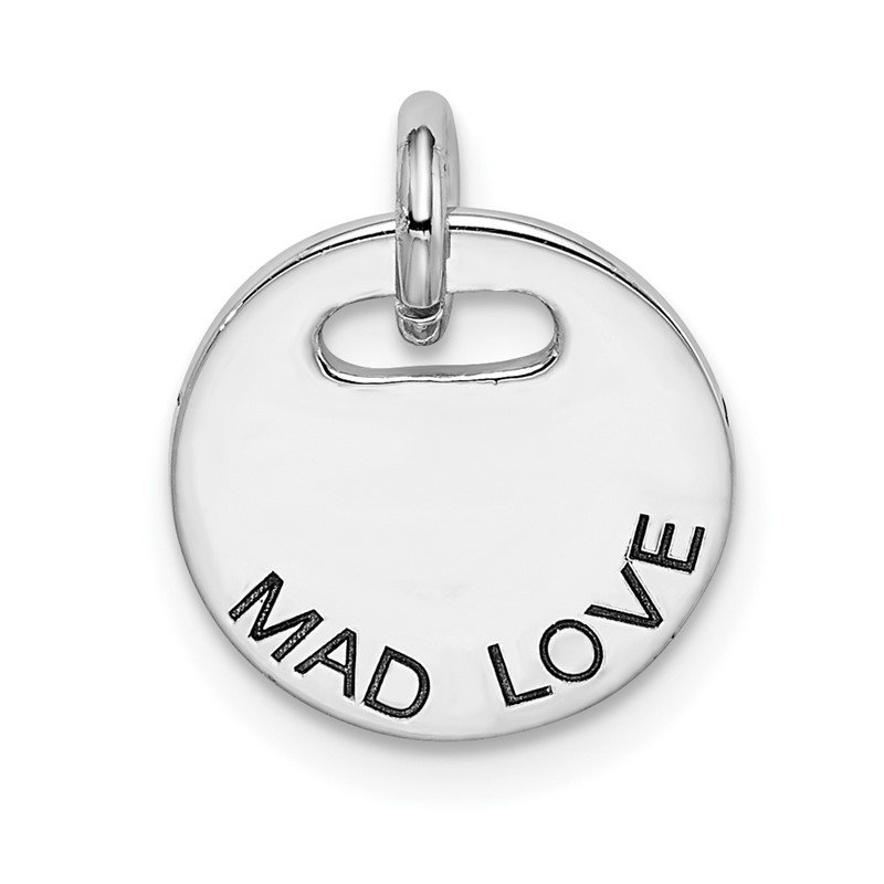 Quality Gold Sterling Silver Rhodium-plated Polished Mad Love Pendant