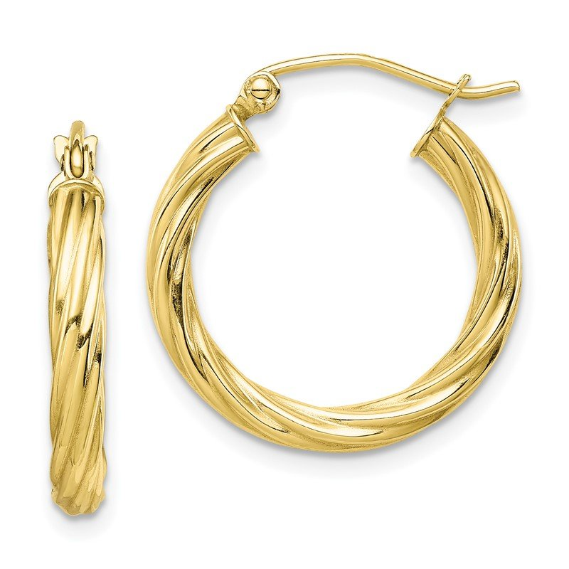 Quality Gold 10k Polished 3mm Twisted Hoop Earrings