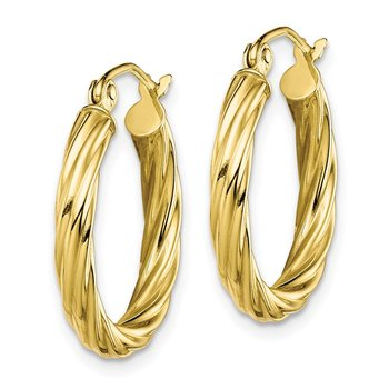10k Polished 3mm Twisted Hoop Earrings