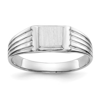 14k White Gold Childs Signet Ring