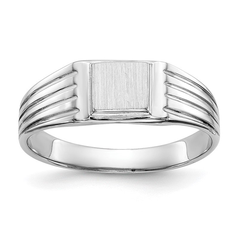 Quality Gold 14k White Gold 5.25x5.0mm Childs Signet Ring