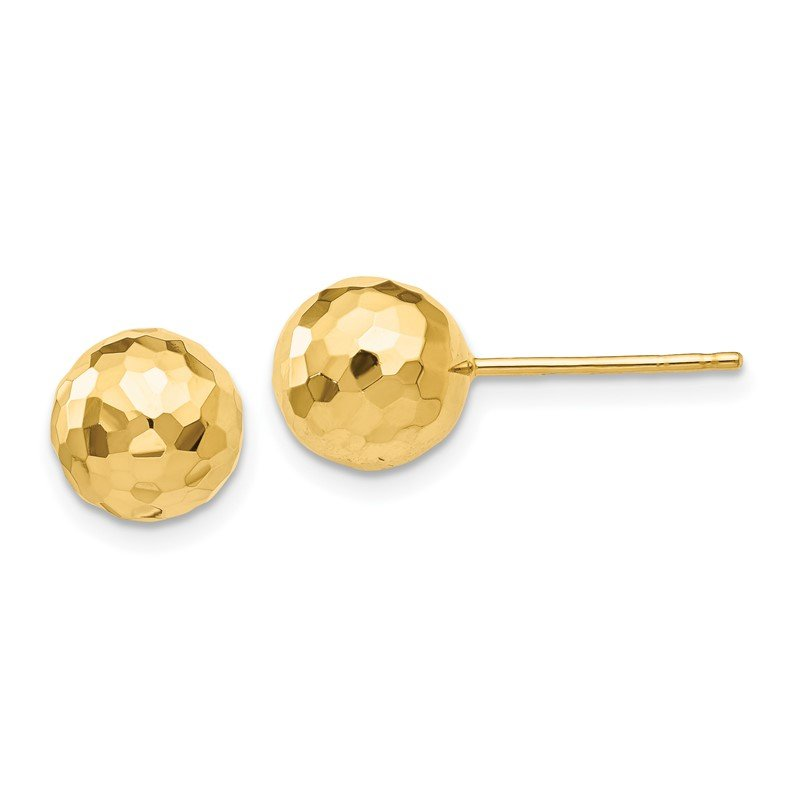 Quality Gold 14K Gold Polished and Diamond Cut 8MM Ball Post Earrings
