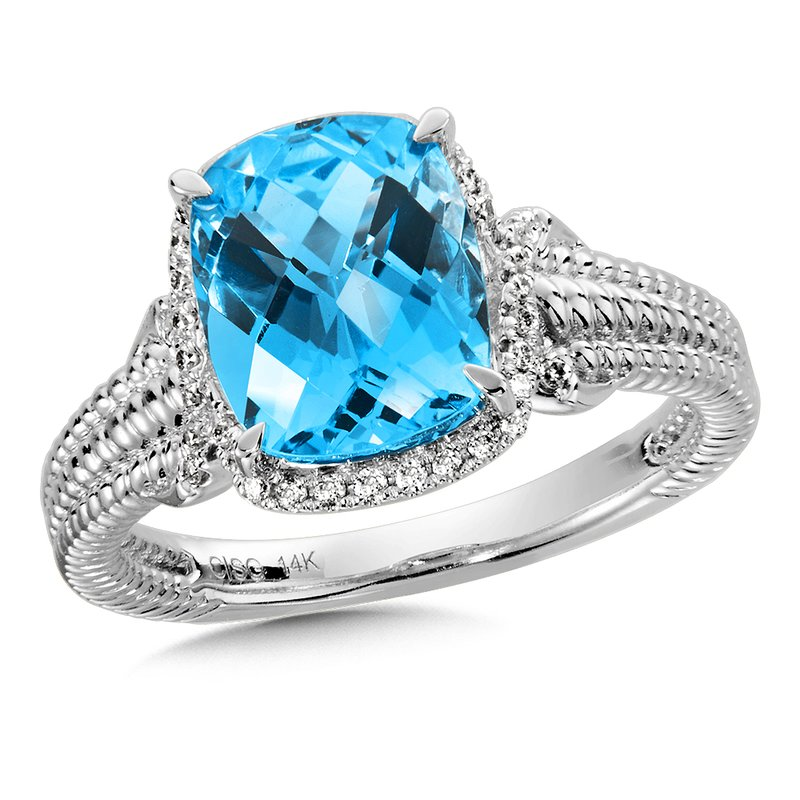 Colore Sg Blue Topaz & Diamond Ring in 14K White Gold